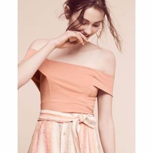 Anthropologie Deletta Blush Crop Off Shoulder Top